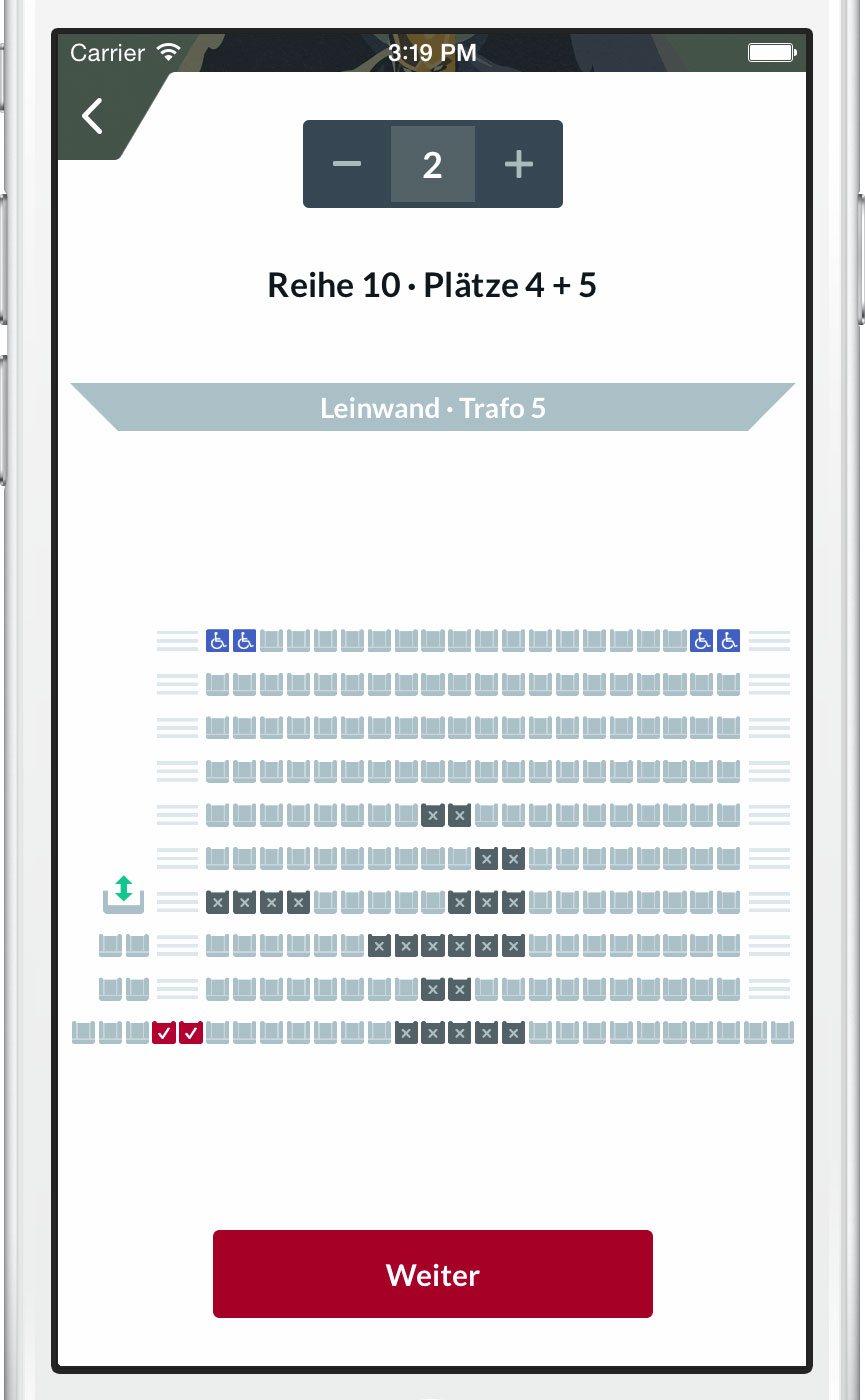 Visual seat selection static